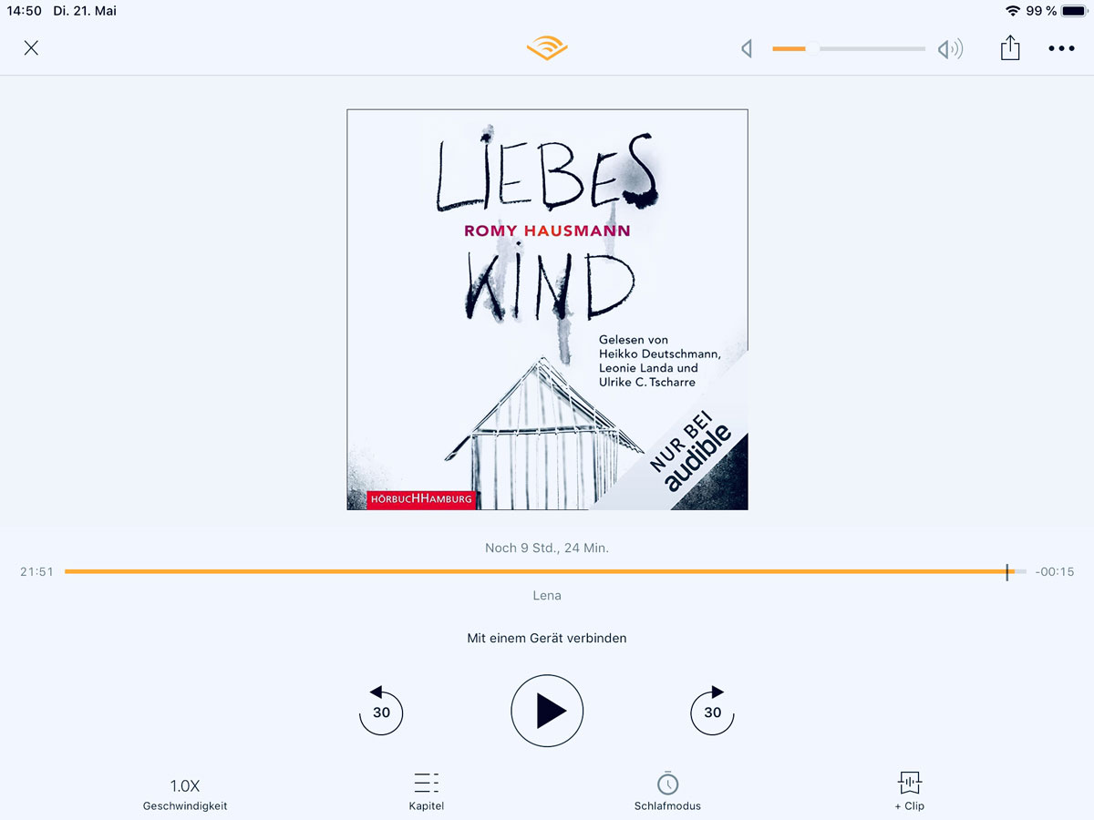 Im Hörmodus | Quelle: audible App